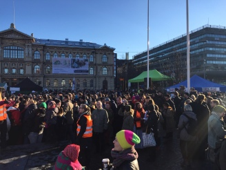 Daytime protest rally in Helsinki days after an Afghan asylum seeker tried to commit suicide